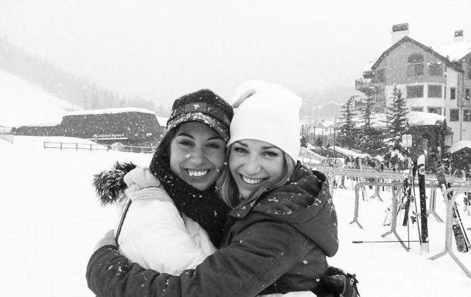 sisters friends winter beaver creek snowboard ski
