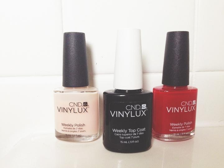vinylux, nail polish, red, pink